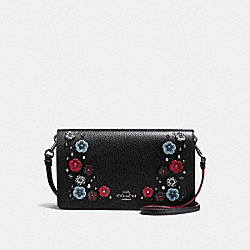 FOLDOVER CROSSBODY CLUTCH WITH SNAKESKIN TEA ROSE - f21599 - DARK GUNMETAL/BLACK CLOUD MULTI