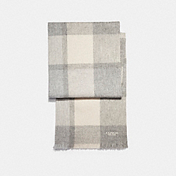 BIG PLAID MUFFLER - f21637 - GREY/CHALK