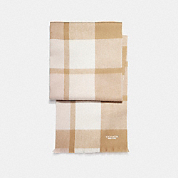 BIG PLAID MUFFLER - f21637 - CARAMEL/CHALK