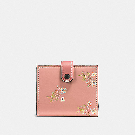 COACH F21693 SMALL TRIFOLD WALLET WITH FLORAL BOW PRINT PINK/BLACK COPPER