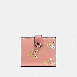 SMALL TRIFOLD WALLET WITH FLORAL BOW PRINT - F21693 - PINK/BLACK COPPER