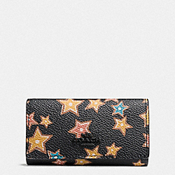 COACH F21804 Six Ring Key Case With Starlight Print MW/BLACK MULTI