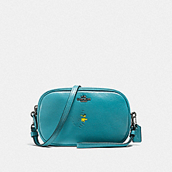 COACH F21817 Sadie Crossbody Clutch With Snoopy QB/OCEAN