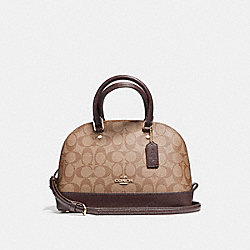 MINI SIERRA SATCHEL IN SIGNATURE COATED CANVAS - f21825 - LIGHT GOLD/KHAKI