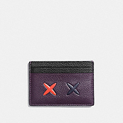 CHEEKY FLAT CARD CASE IN POLISHED PEBBLE LEATHER - f21828 - SILVER/MULTICOLOR 1