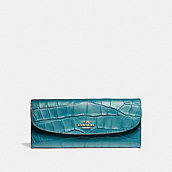 SOFT WALLET IN CROCODILE EMBOSSED LEATHER - f21830 - LIGHT GOLD/DARK TEAL