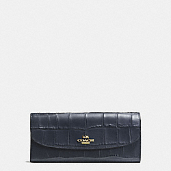 COACH F21830 Soft Wallet In Croc Embossed Leather IMITATION GOLD/MIDNIGHT