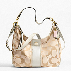 COACH F21873 - SIGNATURE STRIPE CONVERTIBLE HOBO BRASS/LIGHT KHAKI/WHITE