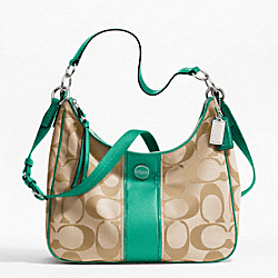 COACH F21873 - SIGNATURE STRIPE CONVERTIBLE HOBO SILVER/LT KHAKI/BRIGHT JADE