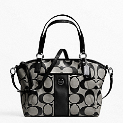 COACH F21899 - SIGNATURE STRIPE POCKET TOTE SILVER/BLACK/WHITE/BLACK