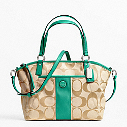 COACH F21899 - SIGNATURE STRIPE POCKET TOTE SILVER/LT KHAKI/BRIGHT JADE