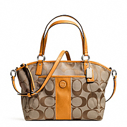 COACH F21899 - SIGNATURE STRIPE POCKET TOTE SILVER/KHAKI/ORANGE SPICE