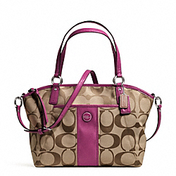 COACH F21899 - SIGNATURE STRIPE POCKET TOTE SILVER/KHAKI/PASSION BERRY
