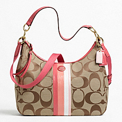 COACH F21923 Signature Stripe Multi Stripe Convertible Hobo