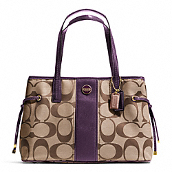 COACH F21949 - SIGNATURE STRIPE CARRYALL ONE-COLOR