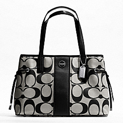COACH F21949 - SIGNATURE STRIPE CARRYALL SILVER/BLACK/WHITE/BLACK