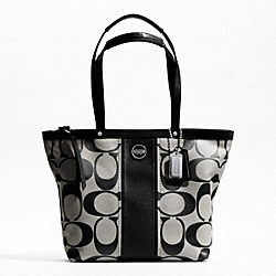 COACH F21950 - SIGNATURE STRIPE TOTE ONE-COLOR