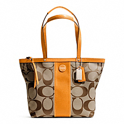 COACH F21950 Signature Stripe Tote SILVER/KHAKI/ORANGE SPICE