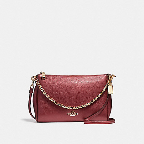 COACH f22207 CARRIE CROSSBODY LIGHT GOLD/METALLIC CHERRY