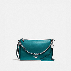 COACH F22207 Carrie Crossbody BLACK ANTIQUE NICKEL/METALLIC DARK TEAL