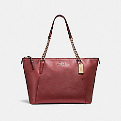 AVA CHAIN TOTE - f22208 - LIGHT GOLD/METALLIC CHERRY
