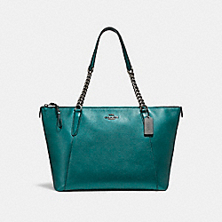 COACH F22208 Ava Chain Tote BLACK ANTIQUE NICKEL/METALLIC DARK TEAL