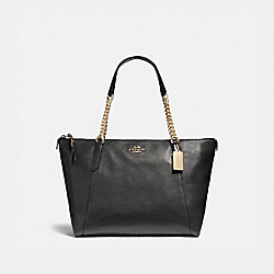 AVA CHAIN TOTE - f22211 - LIGHT GOLD/BLACK
