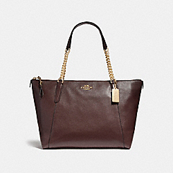 AVA CHAIN TOTE - f22211 - LIGHT GOLD/OXBLOOD 1