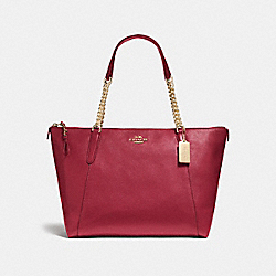 AVA CHAIN TOTE - f22211 - LIGHT GOLD/DARK RED