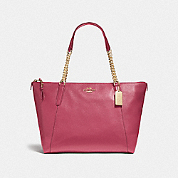 AVA CHAIN TOTE - f22211 - LIGHT GOLD/ROUGE