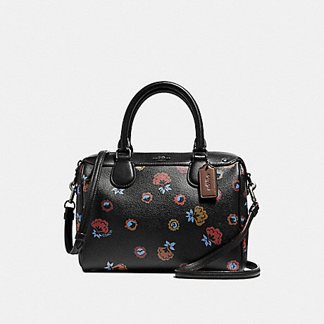COACH f22220 MINI BENNETT SATCHEL WITH PRIMROSE FLORAL PRINT ANTIQUE NICKEL/BLACK MULTI