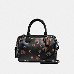 MINI BENNETT SATCHEL WITH PRIMROSE FLORAL PRINT - f22220 - ANTIQUE NICKEL/BLACK MULTI