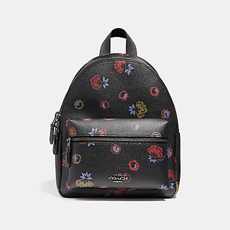 COACH f22234 MINI CHARLIE BACKPACK WITH PRIMROSE FLORAL PRINT ANTIQUE NICKEL/BLACK MULTI