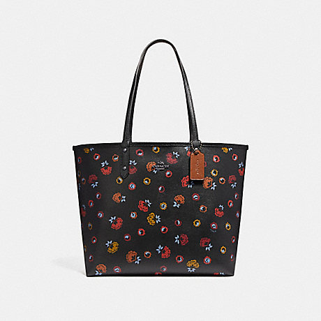 COACH f22236 REVERSIBLE CITY TOTE WITH PRIMROSE FLORAL PRINT ANTIQUE NICKEL/BLACK MULTI