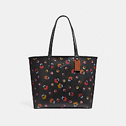 REVERSIBLE CITY TOTE WITH PRIMROSE FLORAL PRINT - f22236 - ANTIQUE NICKEL/BLACK MULTI