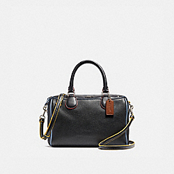 MINI BENNETT SATCHEL WITH EDGEPAINT - f22237 - SILVER/BLACK MULTI