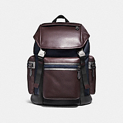 COACH TERRAIN TREK PACK - BLACK ANTIQUE NICKEL/OXBLOOD/MIDNIGHT NAVY - F22239
