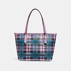 MINI CITY ZIP TOTE WITH SHADOW PLAID PRINT - f22245 - SVMRU