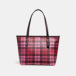 MINI CITY ZIP TOTE WITH SHADOW PLAID PRINT - f22245 - SVMRV