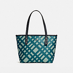 MINI CITY ZIP TOTE WITH WILD PLAID PRINT - f22246 - SILVER/BLUE MULTI
