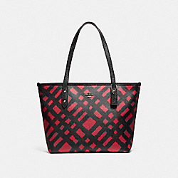 MINI CITY ZIP TOTE WITH WILD PLAID PRINT - f22246 - SVMRT