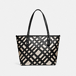 MINI CITY ZIP TOTE WITH WILD PLAID PRINT - f22246 - SVMRW