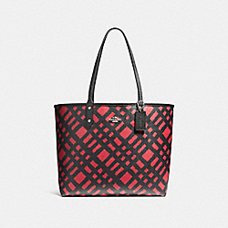 COACH F22247 Reversible City Tote With Wild Plaid Print SVMUV