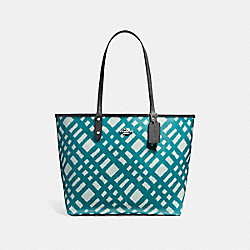 COACH F22247 Reversible City Tote With Wild Plaid Print SVMVB