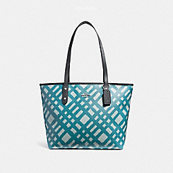 CITY ZIP TOTE WITH WILD PLAID PRINT - f22248 - SILVER/BLUE MULTI