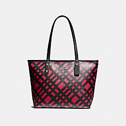 COACH F22248 City Zip Tote With Wild Plaid Print SVMRT