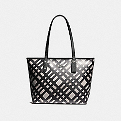 COACH F22248 City Zip Tote With Wild Plaid Print SVMRW