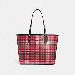 COACH F22249 Reversible City Tote With Shadow Plaid Print SVMUX