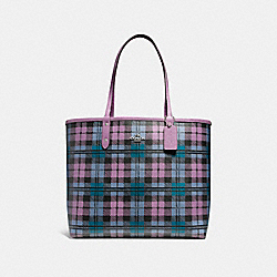 COACH F22249 Reversible City Tote With Shadow Plaid Print SVMUY