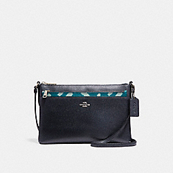 EAST/WEST CROSSBODY WITH POP-UP POUCH WITH WILD PLAID PRINT - f22251 - SILVER/BLUE MULTI